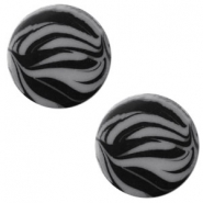 12 mm platte Polaris Elements cabochon zebra Silver night