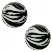 12 mm platte Polaris Elements cabochon zebra Ice grey