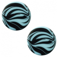 12 mm platte Polaris Elements cabochon zebra Soft lagoon blue
