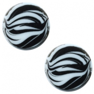 12 mm platte Polaris Elements cabochon zebra Powder blue