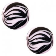 12 mm platte Polaris Elements cabochon zebra Lilac purple