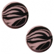 12 mm platte Polaris Elements cabochon zebra Taupe brown