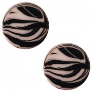 12 mm platte Polaris Elements cabochon zebra Greige
