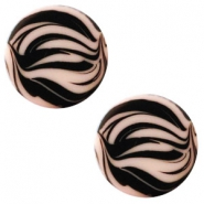 12 mm platte Polaris Elements cabochon zebra Light vintage rose
