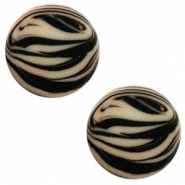 12 mm platte Polaris Elements cabochon zebra Light taupe