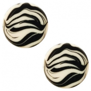 12 mm platte Polaris Elements cabochon zebra Silk beige