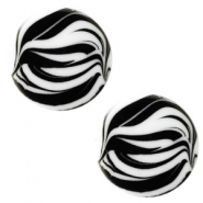 12 mm platte Polaris Elements cabochon zebra Bianco white