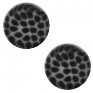 12 mm platte Polaris Elements cabochon leopard Silver night