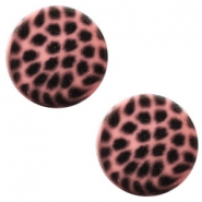 12 mm platte Polaris Elements cabochon leopard Peachy coral pink