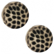 12 mm platte Polaris Elements cabochon leopard Light taupe