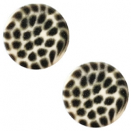 12 mm platte Polaris Elements cabochon leopard Silk beige