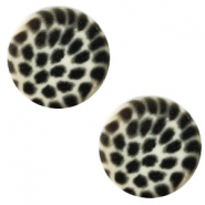 12 mm platte Polaris Elements cabochon leopard Light silver shade
