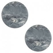12 mm platte Polaris Elements cabochon Stone Look Ocean grey