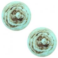 20 mm platte Polaris Elements cabochon Stone Look Turquoise -brown