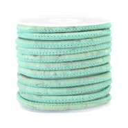 Hip kurk gestikt 4x3mm Vintage mint green