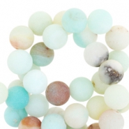 Halfedelsteen kraal rond 8mm Amazonite mat Light turquoise multicolour