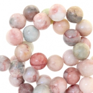 Halfedelsteen kraal rond 6mm agaat Vintage rose multicolour