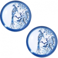 Cabochons basic Delfts blauw pauw 20mm White-blue
