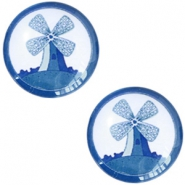 Cabochons basic Delfts blauw molen 20mm White-blue