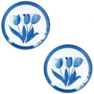 Cabochons basic Delfts blauw tulpen 12mm White-blue