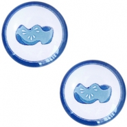 Cabochons basic Delfts blauw klompen 12mm White-blue