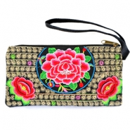Hippe portemonnees Boho Ibiza Black gold-rose-green