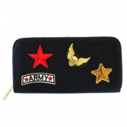 Hippe portemonnees met patches army Black