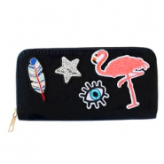 Hippe portemonnees met patches flamingo Black