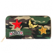 Hippe portemonnees met patches army Green-brown