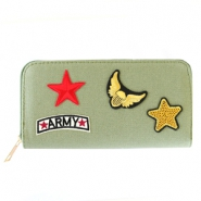Hippe portemonnees met patches army Khaki green