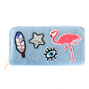 Hippe portemonnees met patches flamingo Denim blue