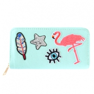 Hippe portemonnees met patches flamingo Mint green