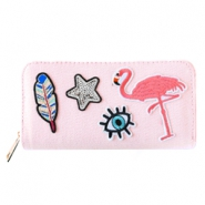 Hippe portemonnees met patches flamingo Light rose