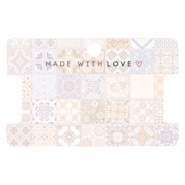 "Kaartjes voor sieraden ""made with love"" tile print Multicolour rose peach"