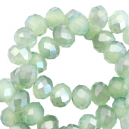 Facet kralen top quality disc 6x4 mm Crysolite green opal-pearl high shine coating