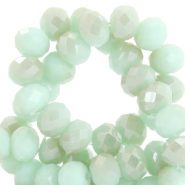 Facet kralen top quality disc 6x4 mm Velvet mint green-half champagne half pearl shine coating