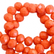 Facet kralen top quality disc 6x4 mm Coral orange-pearl shine coating