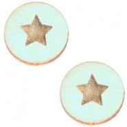 Cabochons hout ster 20mm Sea green