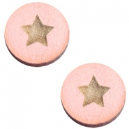 Cabochons hout ster 20mm Pink