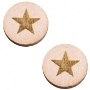 Cabochons hout ster 12mm Nude cream pink