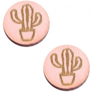 Cabochons hout cactus 12mm Pink