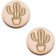 Cabochons hout cactus 12mm Nude cream pink