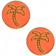 Cabochons hout palmboom 12mm Orange