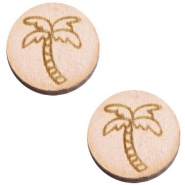 Cabochons hout palmboom 12mm Nude cream pink