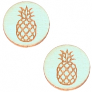 Cabochons hout ananas 12mm Sea green