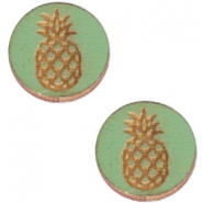 Cabochons hout ananas 12mm Pine green