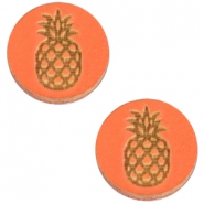 Cabochons hout ananas 12mm Orange