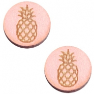 Cabochons hout ananas 12mm Pink