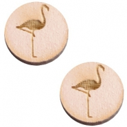 Cabochons hout flamingo 12mm Nude cream pink