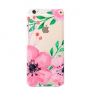 Smartphonehoesjes voor iPhone 6 Plus flower Transparent-pink green